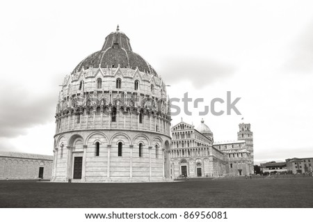 The Baptistery, Cathedral, and Leaning Tower of Pisa in Cathedral Square in Pisa, Italy.