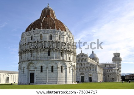 The Baptistry, Cathedral, and Leaning Tower of Pisa in Cathedral Square in Pisa, Italy.