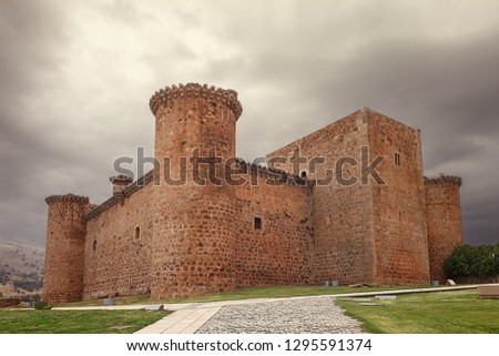 The Barco of Avila castle is a castle from the 12th century that is located dominating the river Tormes, at the highest point of the valley, in the province of Avila, community of Castile Leon, Spain Stock photo ©