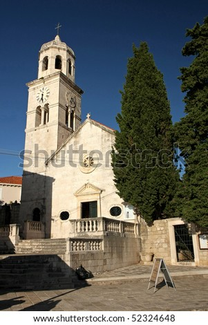 The baroque church of St. Nikola from Cavtat, a town in the southern part of the bay of Zupa,lies on the peninsula Rat