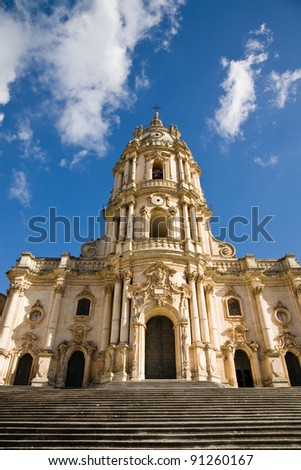The baroque Saint George cathedral of Modica in the province of Ragusa in southern Sicily in Italy