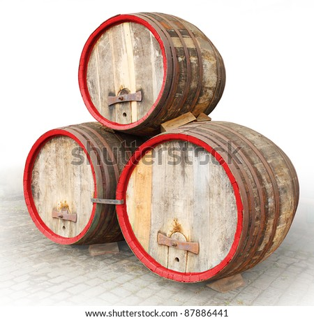 The barrels on a white background.