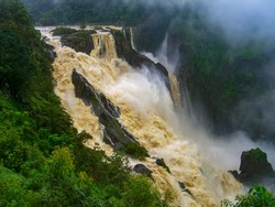 The Barron Falls s a steep tiered cascade waterfall on the Barron River located where the river descends from the Atherton Tablelands to the Cairns coastal plain, in Queensland, Australia.