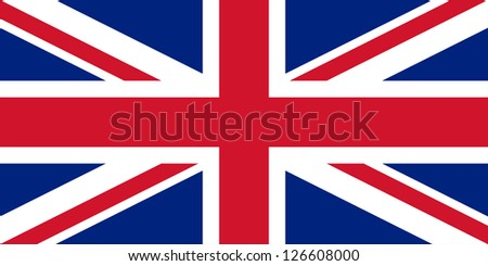 The basic design of the current United Kingdom flag. Proper ratio (2:1) and colours (RGB 207,20,43 - 255,255,255 - 0,36,125). Adopted January 1, 1801.