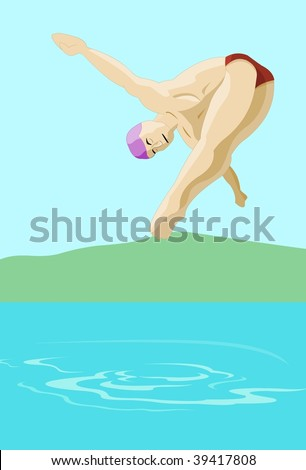 The Basics Of Swimming Pool Diving An illustration of a swimmer diving into a lake/pond/swimming pool