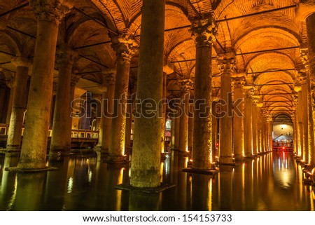 "The Basilica Cistern (""Sunken Palace"", or ""Sunken Cistern""), is the largest of several hundred ancient cisterns that lie beneath the city of Istanbul (formerly Constantinople), Turkey."