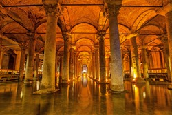 The Basilica Cistern - underground water reservoir build by Emperor Justinianus in 6th century, Istanbul, Turkey