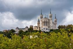 The Basilica of Notre-Dame of Fourviere, La Basilique Notre Dame de Fourviere in Lyon, France, Europe