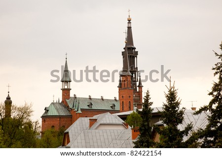 The Basilica of Our Lady of Liche? is a Roman Catholic church located in the village of Liche? Stary near Konin in the Greater Poland Voivodeship in Poland. - stock photo