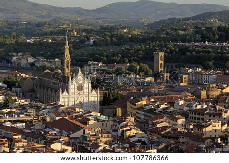 The Basilica of Santa Croce in Florence, Italy.  Shot from the top of the Duomo.  Basilica of Santa Croce is the burial place of many famous Italians, including Michangelo and Galileo.