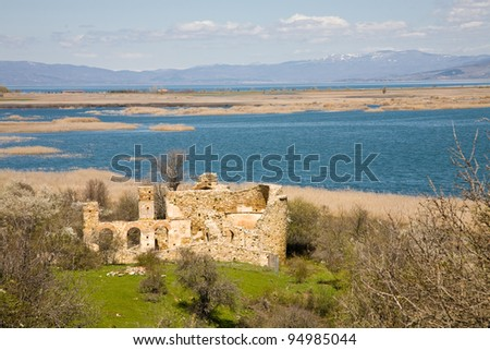 The Basilica of St. Achillius on the island in the Small Prespa Lake in Macedonia in northern Greece