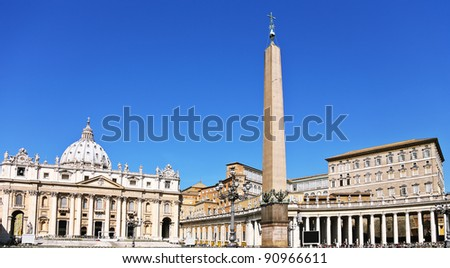 The Basilica of St. Peter is a huge church in the Renaissance style located in Rome.