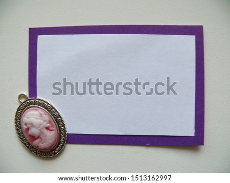 The basis for the inscriptions is white on a purple rectangle, a blank for text with a cameo #1513162997