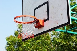 The basketball board with a basket