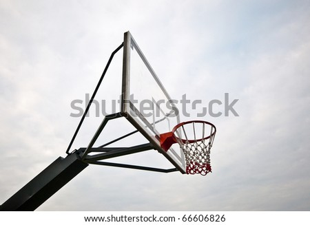 The Basketball court on cloudy background