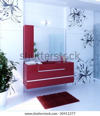 The bathroom in modern style. Modern furniture