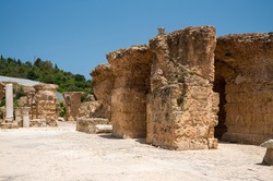 The Baths of Antoninus or Baths of Carthage in Tunis, Tunisia. These are the vastest set of Roman Thermae built on the African continent and one of three largest built in the Roman Empire.