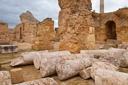 The Baths of Antoninus or Baths of Carthage, located in Carthage, were the vastest set of Roman thermae built on the African continent in Tunisia, Africa, Unesco World Heritage Site