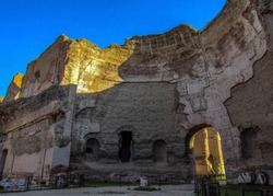 The Baths of Caracalla in Rome, Italy: the city's second largest Roman public baths, or thermae