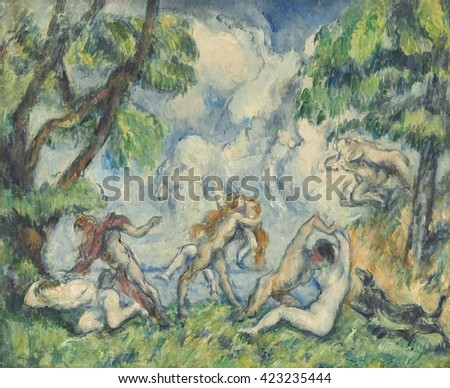 The Battle of Love, by Paul Cezanne, 1880, French Post-Impressionist painting, oil on canvas. The figures in this landscape were painted from old masters prints or his own art school drawings. He onc
