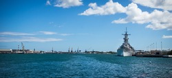 The battleship Missouri in Pearl Harbour, Hawaii. The ship now serves as a memorial and museum.