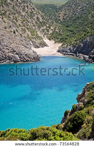 The bay and Caletta beach of Cala Domestica in the Sulcis area of Sardinia, Italy