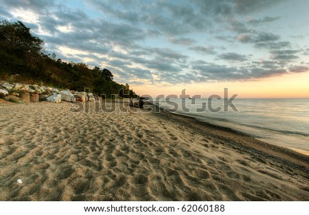 the bayfield beach at sunset #62060188