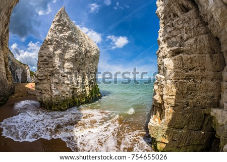 The beach and iconic cliffs at Botany Bay, near Margate and Broadstairs, Thanet District, East Kent, about 80 miles from London, England. #754655026