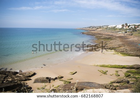 Shutterstock the beach at the village of Luz at the Algarve of Portugal in Europe.