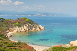 The beach Krifi Ammos of Skiathos island, Greece