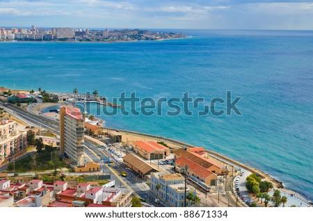 The beach line in Alicante, Spain