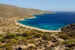 The beach of Kalamos bay on the east coast of the Greek island of Ios in the Cyclades archipelago