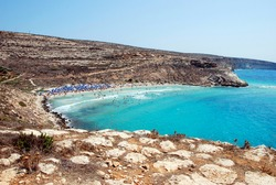 The beach of Lampedusa full of people. Summer 2009.