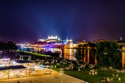 The beach party on the embankment of the of Bratislava
