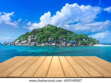 The Beach. Vintage Style Wooden Paving Break World Ocean Day Terrace Relax  View Sun Sand