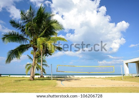 The beach volleyball field have blue sky to be background.