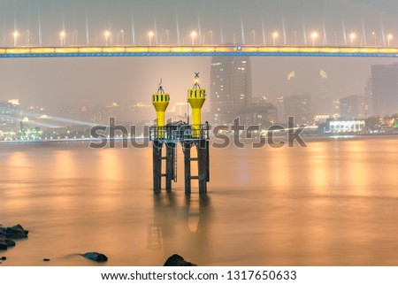 The beacon lighthouse in the Huangpu River #1317650633