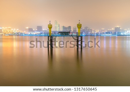 The beacon lighthouse in the Huangpu River #1317650645