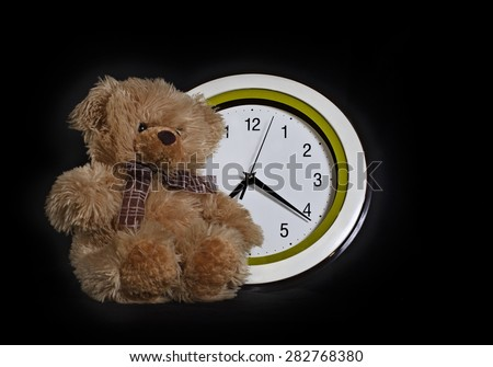 the bear cub â?? a toy sits in front of the round dial. A photo on a black background