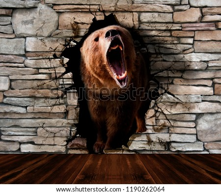The bear leaves the pedestrian. Wallpaper for wall. 3d rendering.