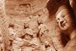 The beautiful ancient remains of Buddha Statue in Yungang Grottoes, Datong, Shanxi Province, China.