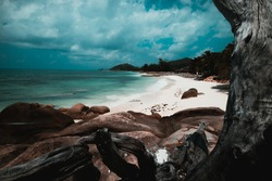 The beautiful Anse Kerlan at Praslin, Seychelles Islands