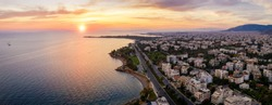 The beautiful Athens Riviera coast with beaches and marinas during sunset time, Attica, Greece