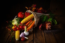 The beautiful autumnal cornucopia with vegetables