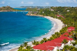 The beautiful beach of Galley Bay in Antigua.