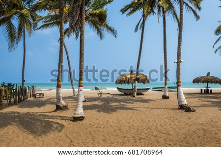 The beautiful beach of Palomino in the Caribbean Coast of Colombia, South America; Concept for travel in Colombia #681708964
