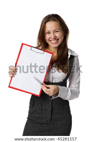 The beautiful blonde shows a blank clipboard on white a background