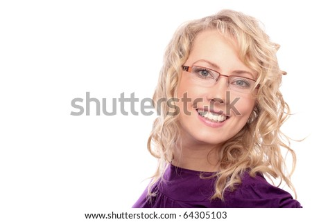 The beautiful blonde the girl bespectacled