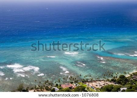 The beautiful blue ocean off the coast of Diamond Head volcano.
