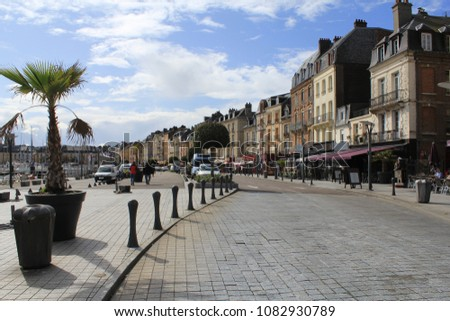 the beautiful boulevard of dieppe normandy france  during a summer holiday  #1082930789